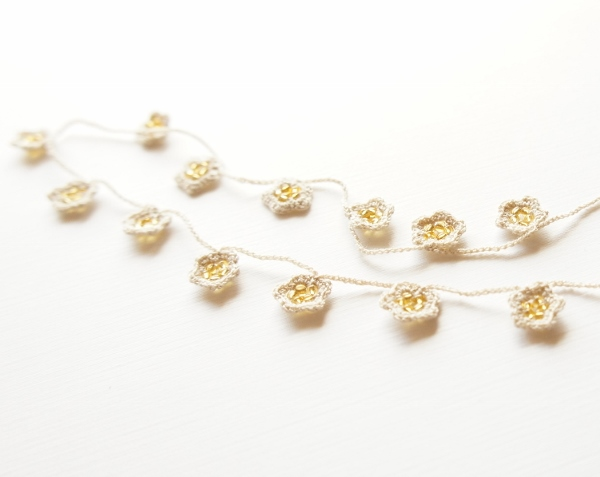 Beaded Crochet Flower Necklace, Turkish Oya by JaKiGu