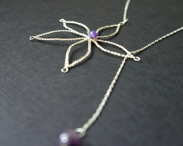 Bobbin Lace, Flower Lariat Necklace with Amethyst by JaKiGu