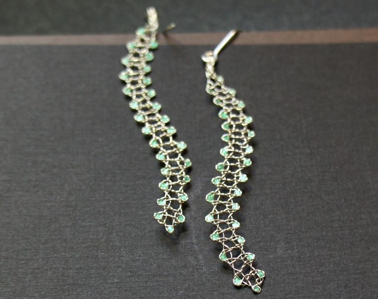 Bobbin Lace Earrings in Wire by JaKiGu - Original, One-of-a-Kind Piece of Jewelry