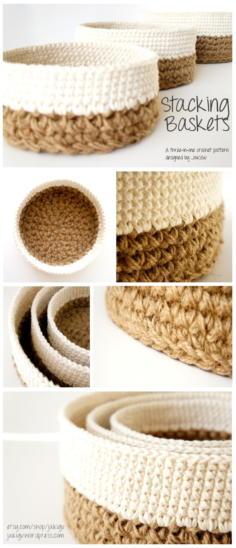 Crochet pattern round stacking baskets jakigu Crochet home decor pinterest